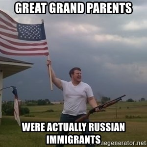 american flag shotgun guy - great grand parents were actually russian immigrants