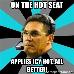 Stoic Ron - On the hot seat applies Icy hot..all Better!