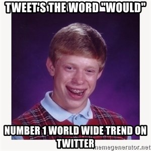 "nerdy kid lolz - TWEET'S THE WORD ""WOULD"" NUMBER 1 WORLD WIDE TREND ON TWITTER"