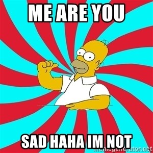 Frases Homero Simpson - me are you  sad haha im not