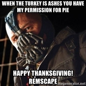 Only then you have my permission to die - When the turkey is ashes you have my permission for pie Happy thanksgiving!  REMSCAPE