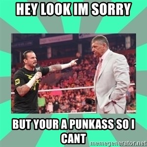 CM Punk Apologize! - HEY LOOK IM SORRY BUT YOUR A PUNKASS SO I CANT