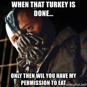 Only then you have my permission to die - when that turkey is done... only then wil you have my permission to eat