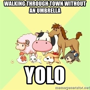 Harvest Moon - walking through town without an umbrella yolo