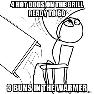 Desk Flip Rage Guy - 4 hot dogs on the grill ready to go 3 buns in the warmer