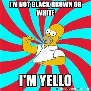 Frases Homero Simpson - I'M NOT BLACK BROWN OR WHITE I'M YELLO
