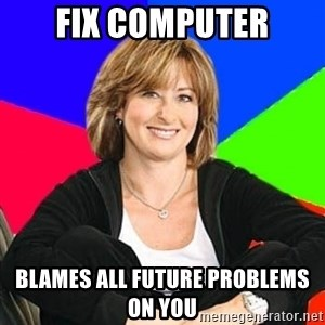 Sheltering Suburban Mom - fix computer blames all future problems on you