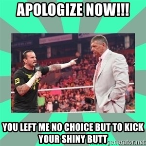 CM Punk Apologize! - APOLOGIZE NOW!!!  YOU LEFT ME NO CHOICE BUT TO KICK YOUR SHINY BUTT