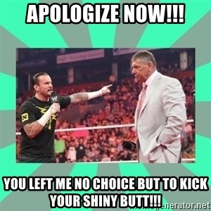 CM Punk Apologize! - APOLOGIZE NOW!!! YOU LEFT ME NO CHOICE BUT TO KICK YOUR SHINY BUTT!!!
