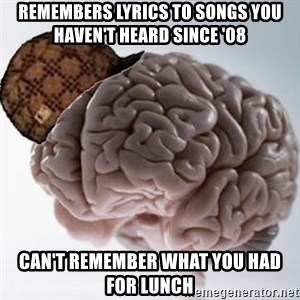 Scumbag Brain - Remembers lyrics to songs you haven't Heard since '08 Can't rememBer what you had for lunch
