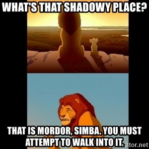 Lion King Shadowy Place - What's that shadowy place? That is mordor, simba. You Must attempt TO walk into it.