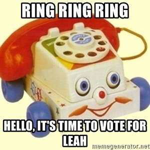 Sinister Phone - ring ring ring Hello, It's time to vote for Leah