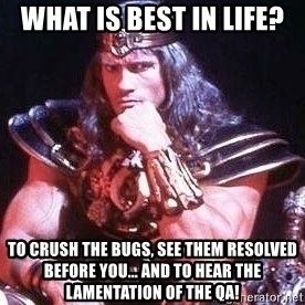 Conan the Barbarian - What is best in life? To crush the bugs, see them resolved before you... and to hear the lamentation of the QA!