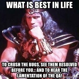 Conan the Barbarian - What is best in life To crush the bugs, see them resolved before you... and to hear the lamentation of the QA!