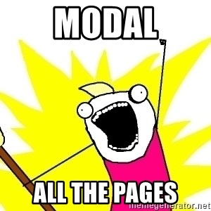 X ALL THE THINGS - modal all the pages