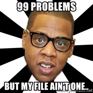 JayZ 99 Problems - 99 pROBLEMS but my file ain't one..