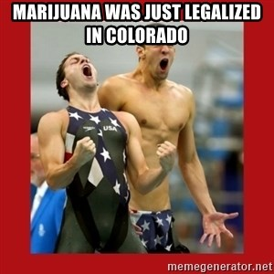Ecstatic Michael Phelps - MARIJUANA WAS JUST LEGALIZED IN COLORADO