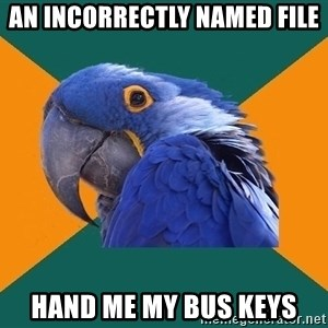 Paranoid Parrot - an incorrectly named file hand me my bus keys