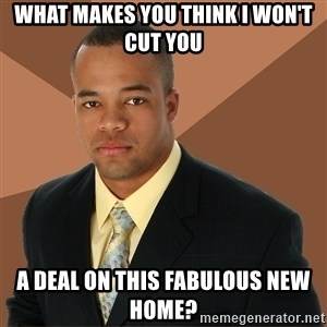 Successful Black Man - what makes you think i won't cut you a deal on this fabulous new home?