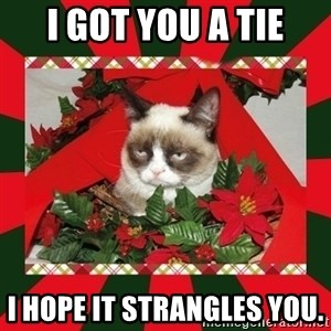 GRUMPY CAT ON CHRISTMAS - I got you a tie I hope it stRangles You.