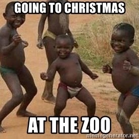 african children dancing - going to christmas at the zoo