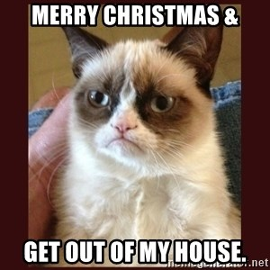 Tard the Grumpy Cat - merry christmas & Get out of my house.