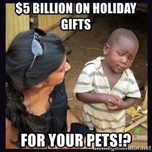 Skeptical third-world kid - $5 billion on holiday gifts  FOR YOUR PETS!?