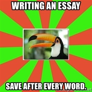 Tourette's Toucan - writing an essay save after every word.