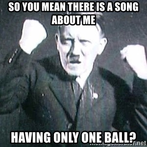 Successful Hitler - so you mean there is a song about me  having only one ball?