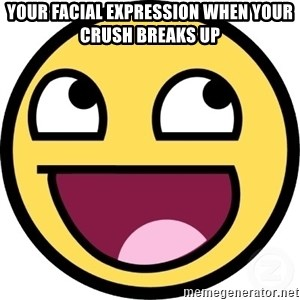 Awesome Smiley - Your Facial expression when your crush breaks up