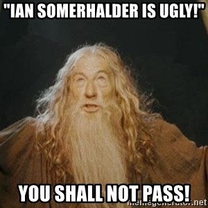 "You shall not pass - ""IAN SOMERHALDER IS UGLY!"" YOU SHALL NOT PASS!"