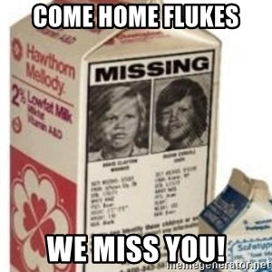 Big Milk Carton - Come Home Flukes We miss you!