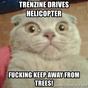 GEEZUS cat - Trenzine drives helicopter FUCKING KEEP AWAY FROM TREES!
