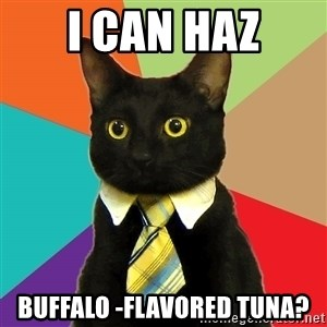 Business Cat - I can haz buffalo -flavored tuna?