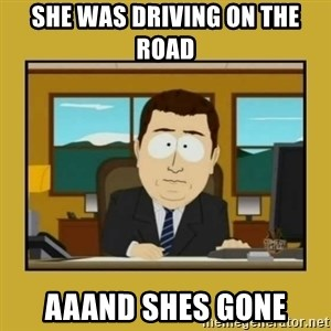 aaand its gone - She was driving on the road aaand shes gone