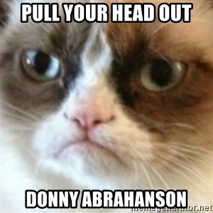 angry cat asshole - Pull YouR head out Donny Abrahanson