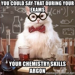 Chemistry Cat - You could say that during your exams  yoUR CHEMISTRY SKILLS Argon