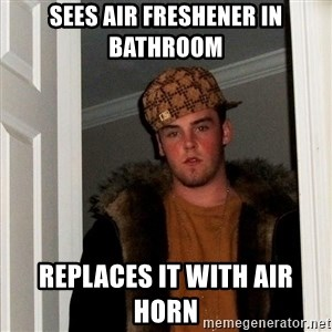 Scumbag Steve - Sees air freshener in bathroom replaces it with air horn