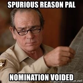 Tommy Lee Jones  - spurious reason pal Nomination Voided