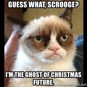 Frown Cat - Guess what, scrooge? I'm the ghost of christmas future.