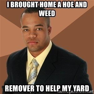 Successful Black Man - I BROUGHT HOME A HOE AND WEED REMOVER TO HELP MY YARD