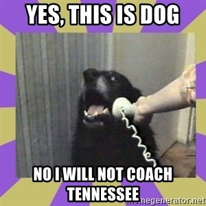 Yes, this is dog! - Yes, this is dog no i will not coach tennessee