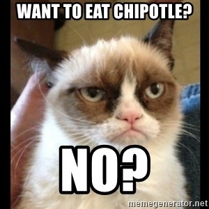 Frown Cat - Want to eat chipotle? NO?