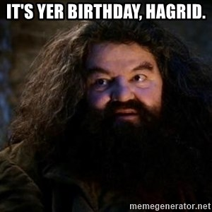 Yer A Wizard Harry Hagrid - it's yer birthday, hagrid.