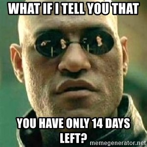 what if i told you matri - what if i tell you that you have only 14 days left?