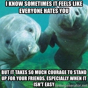 Manatee - I know sometimes it feels like everyone hates you But it takes so much courage to stand up for your friends, especially when it isn't easy