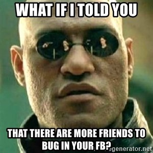 what if i told you matri - WHAT IF I TOLD YOU THAT THERE ARE MORE FRIENDS TO BUG IN YOUR FB?