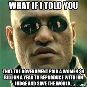 what if i told you matri - what if i told you that the government paid a women $4 billion a year to reproduce with ian judge and save the world..