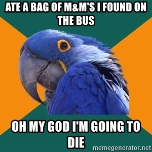 Paranoid Parrot - ate a bag of m&m's i found on the bus oh my god i'm going to die