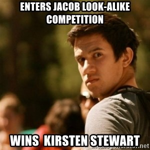 Disturbed David - enters jacob look-alike competition wins  kirsten stewart
